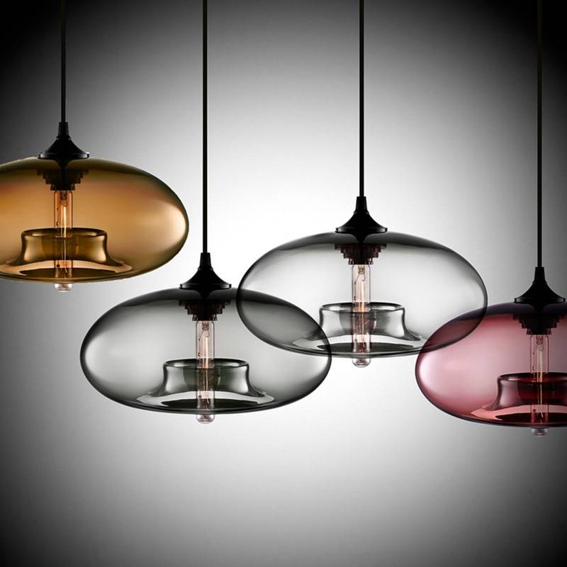 Color Glass Pendant Lamp Lighting Fixtures & Accessories cb5feb1b7314637725a2e7: amber|Blue|clear|coffee|Gray|Red|wine red