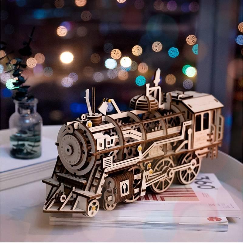 Wooden Train Model Building Set for Children