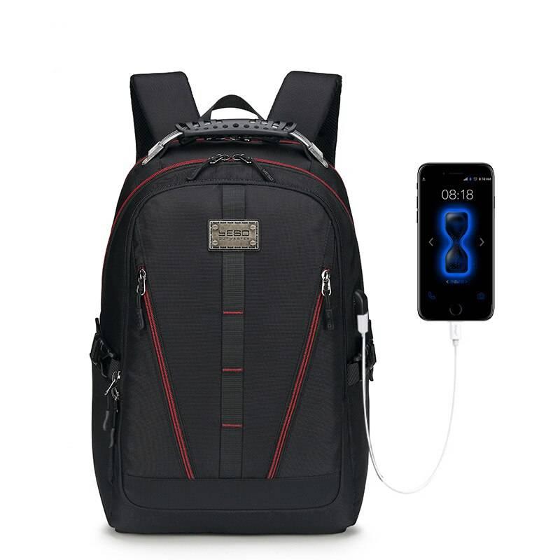 Waterproof USB-Charging Travel Backpack Camping Bags & Backpacks cb5feb1b7314637725a2e7: Orange|Red