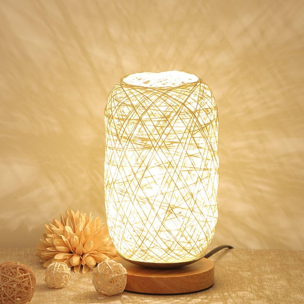 Rattan Table Lamp with Wooden Base Lighting Fixtures & Accessories 8ecdde6db90a376d7ab2a4: Beige|Brown