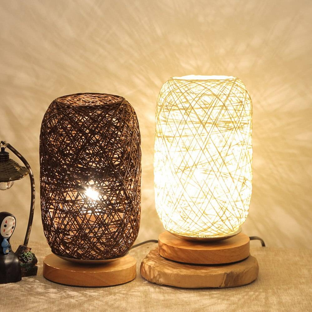 Rattan Table Lamp with Wooden Base