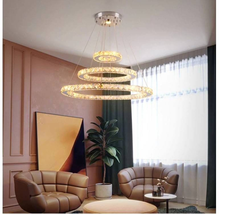 Futuristic Style Crystal Pendant Lighting Lighting Fixtures & Accessories e607d9e6b78b13fd6f4f82: 1Ring D30cm|2Rings D30 50cm|3Rings D20 30 40cm|3Rings D20 40 60cm