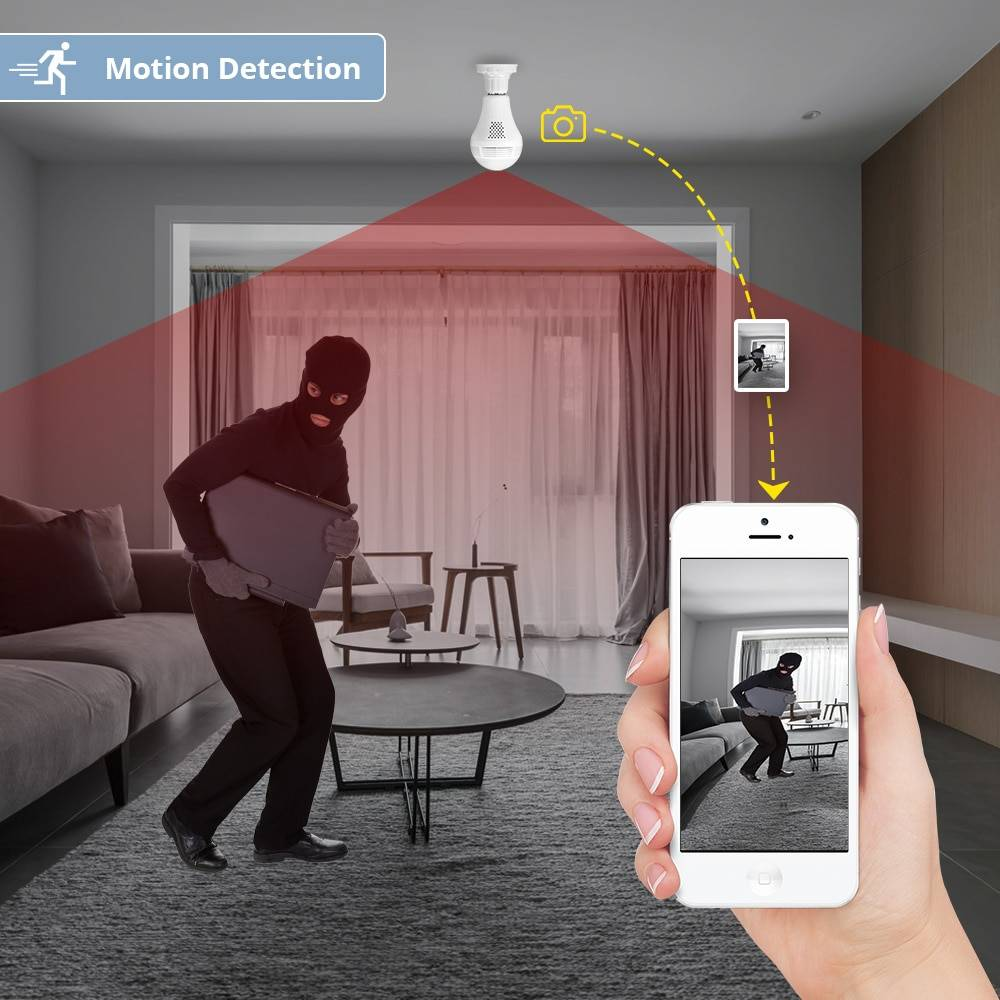 Wireless Panoramic Home Security Camera LED Bulb Smart Home Security Systems 5d5b78699e57104f2fa03b: Cam with 16GB Card|Cam with 32GB Card|Standard Camera