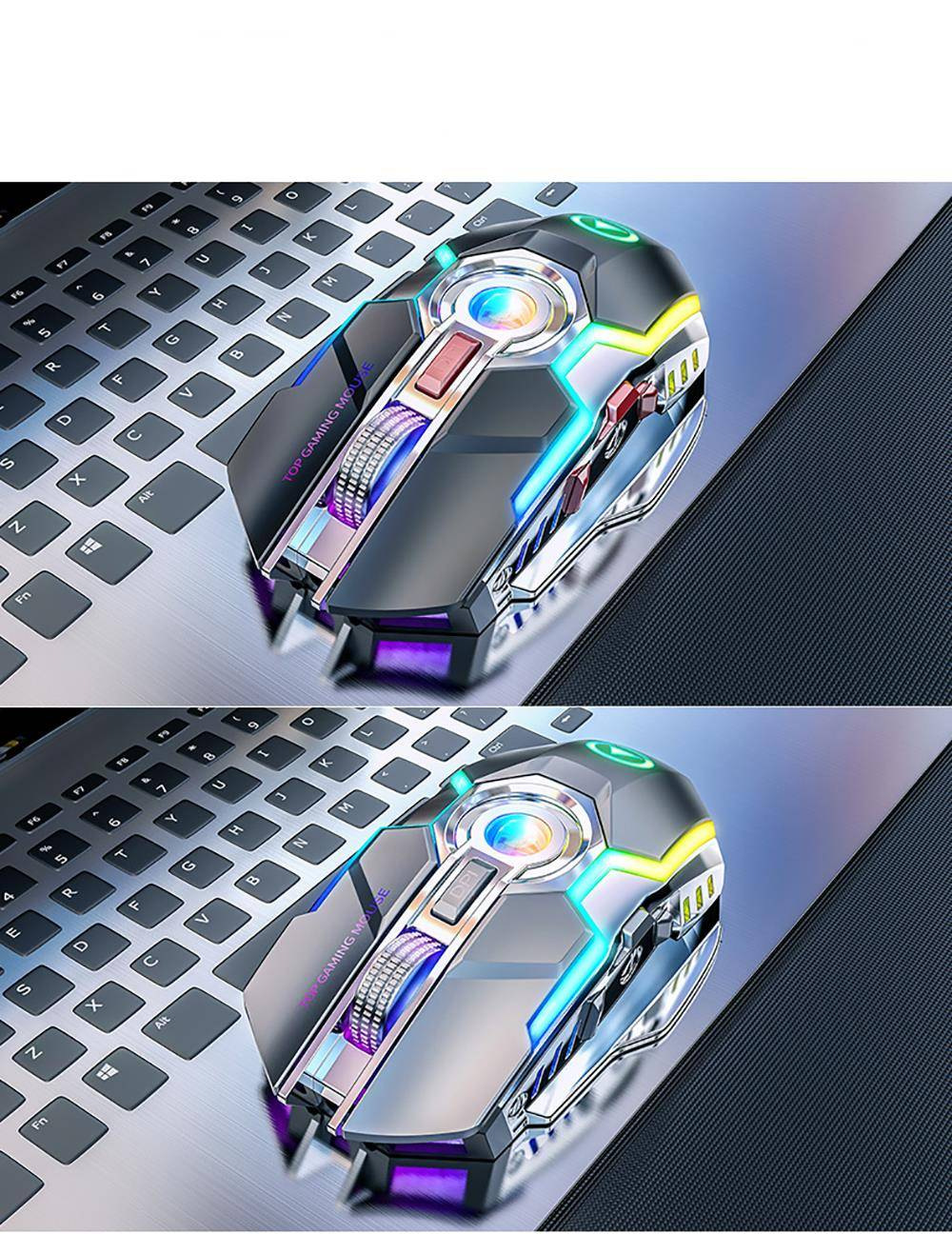 Rechargeable Wireless Gaming Mouse with RGB Backlight