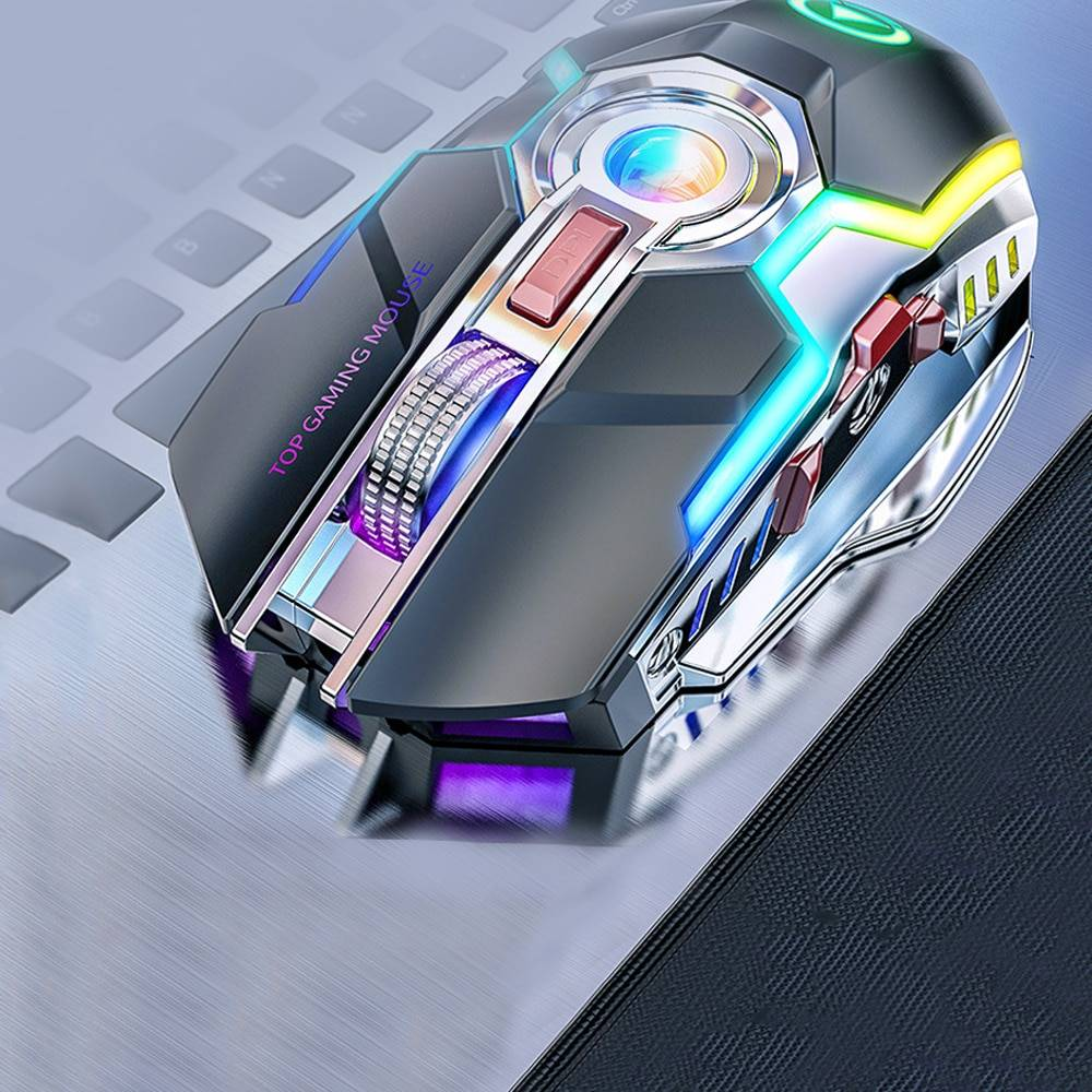 Rechargeable Wireless Gaming Mouse with RGB Backlight Wireless Gadgets cb5feb1b7314637725a2e7: Black Gray