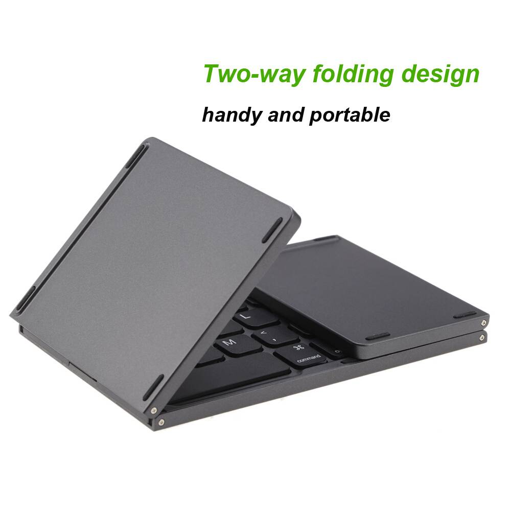 Mini Folding Wireless Keyboard for iPhone Wireless Gadgets cb5feb1b7314637725a2e7: Dark Gray|Silver