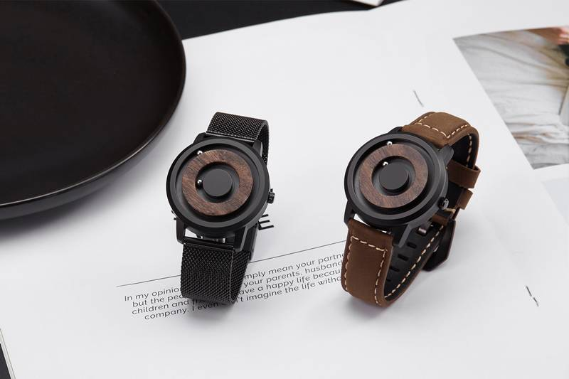 Men's Wooden Dial Watch with Leather Strap