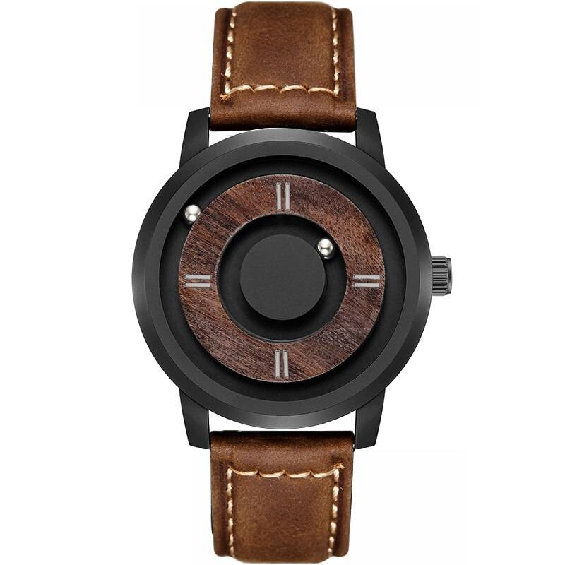 Men Wooden Dial Watch with Leather Strap Wooden Watches cb5feb1b7314637725a2e7: Black|Brown