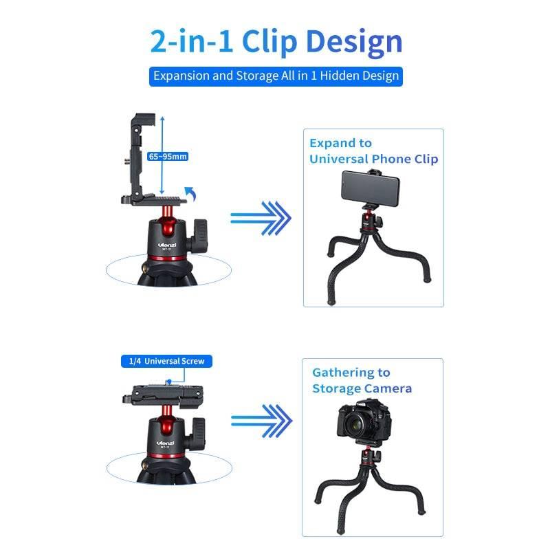 2 in 1 Super Flixible Octopus Tripod Phone Accessories cb5feb1b7314637725a2e7: Clip Remote Tripod|Holder|LED Tripod|Magic Arm|Remote Kit|Tripod