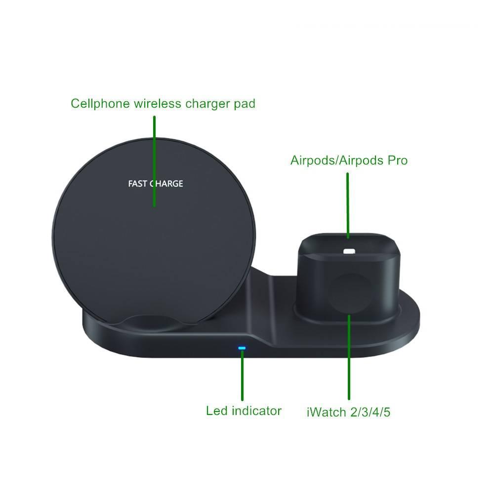 3 in 1 10W Fast Wireless Dock Stations Phone Accessories cb5feb1b7314637725a2e7: Black|White