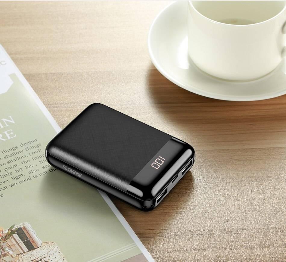 10000 mAh Compact Design Power Bank Phone Accessories cb5feb1b7314637725a2e7: Black
