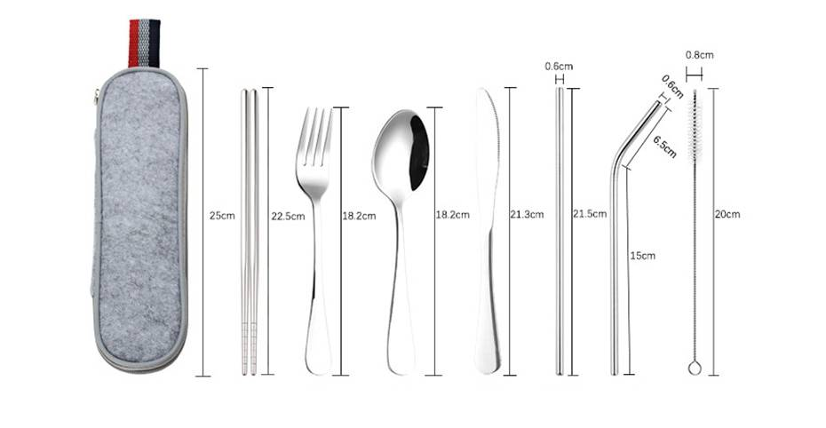 Stainless Steel Dinnerware 8 pcs Set with Portable Bag