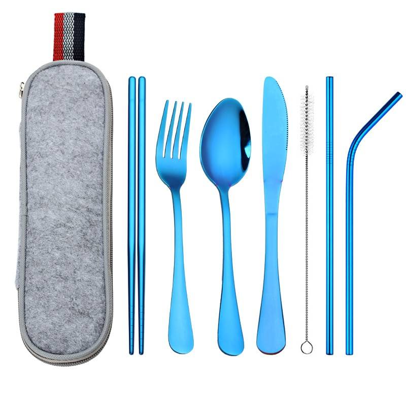 Stainless Steel Dinnerware 8 pcs Set with Portable Bag Flatware & Cutlery 5d5b78699e57104f2fa03b: Bag Black Blue Colorful Gold Purple Rose Gold Silver