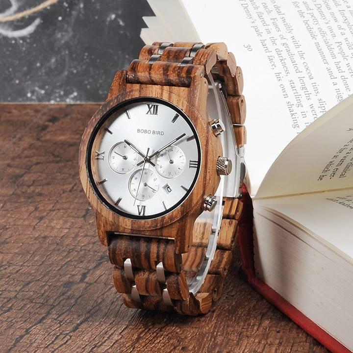 Men's Wooden Quartz Watch with Date