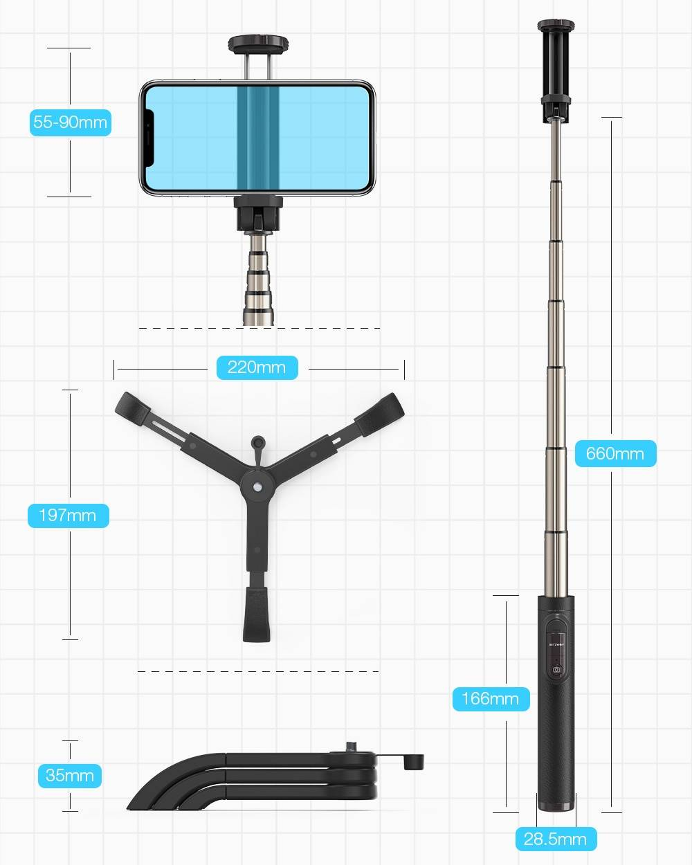 Universal Bluetooth Selfie Stick with Stand