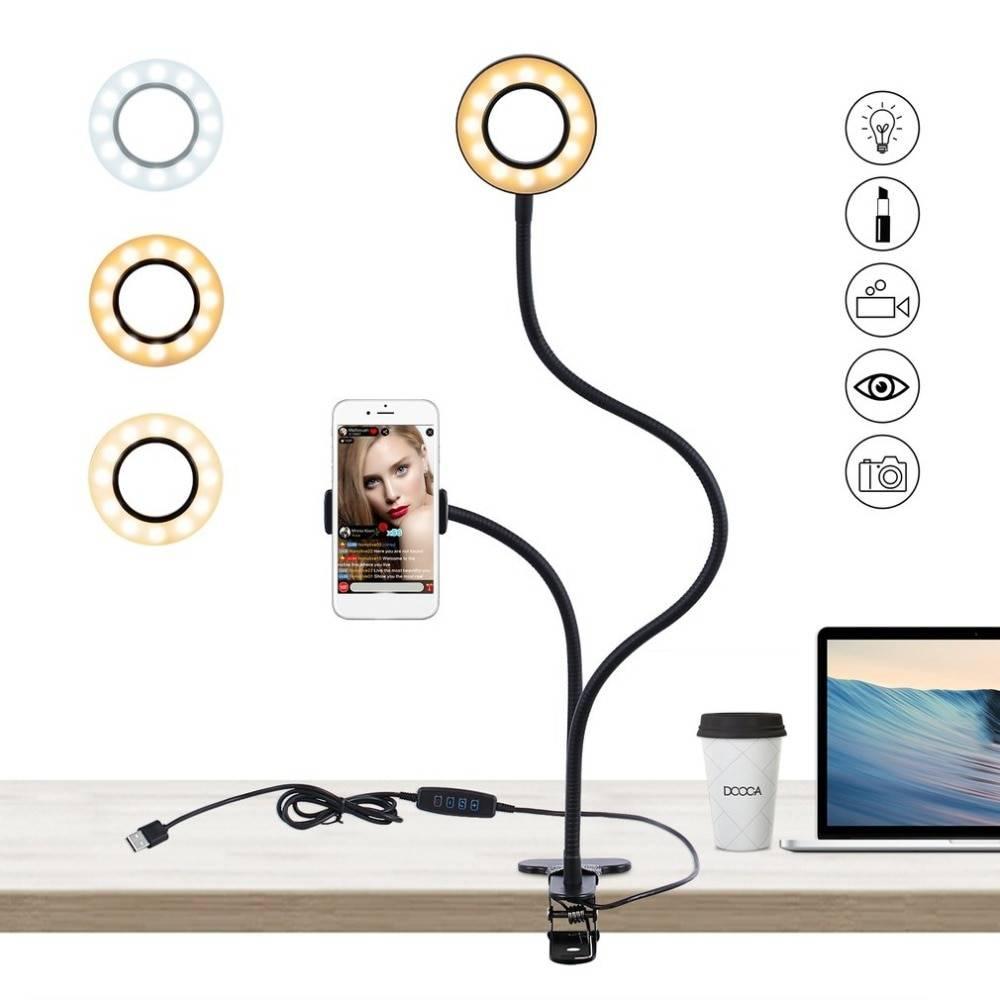 Universal Flexible Phone Arm Stand with LED Ring Phone Accessories cb5feb1b7314637725a2e7: White