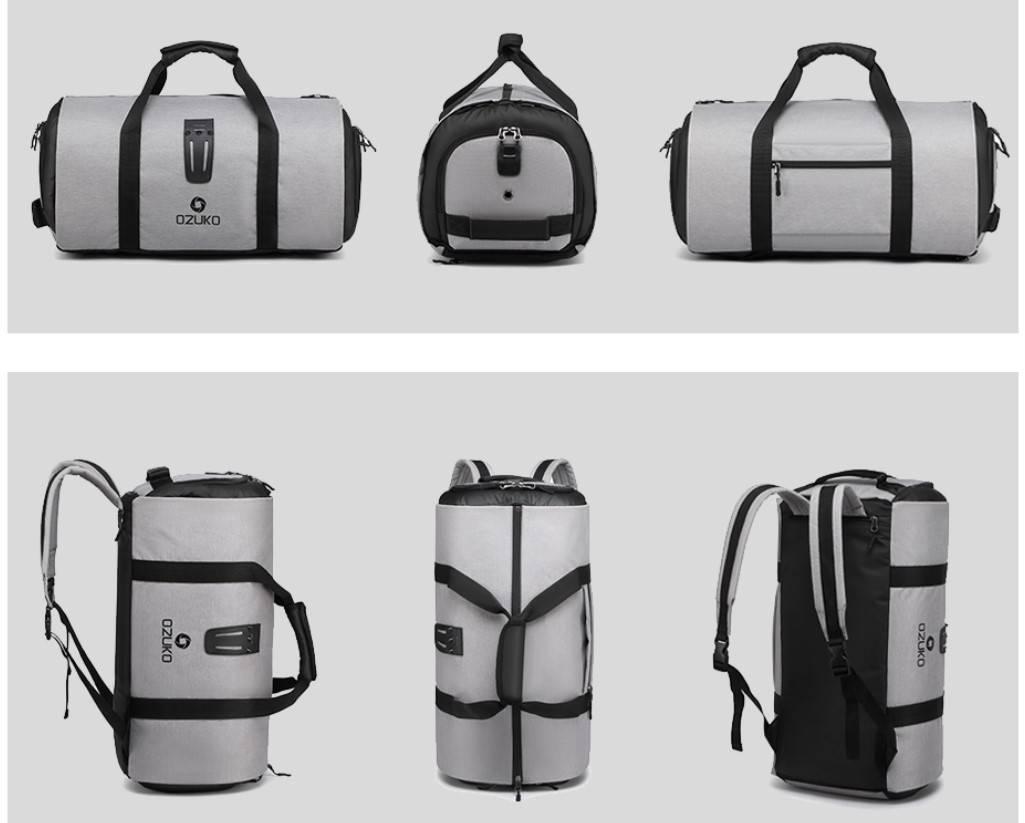 Cylinder Shaped Large Capacity Travel Bag Camping Bags & Backpacks cb5feb1b7314637725a2e7: Black|Gray