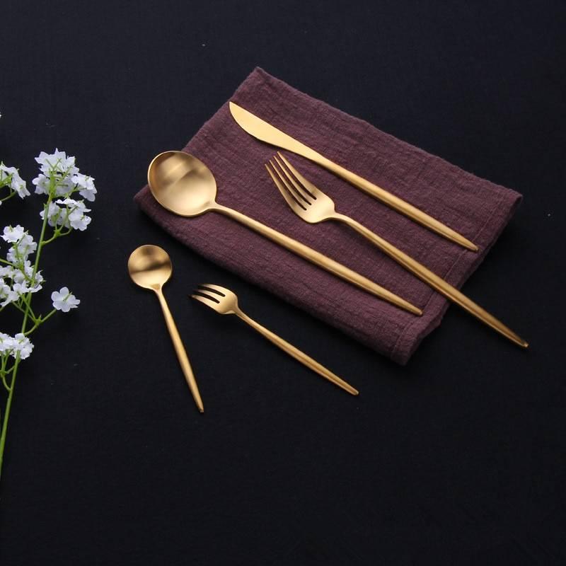 Stainless Steel Cutlery Set in Gold Flatware & Cutlery cb5feb1b7314637725a2e7: Black / Gold|Black / Silver|Blue / Gold|blue silver|butter knife|Chopsticks|dessert fork|dessert knife|dessert spoon|dinner fork|dinner knife|dinner spoon|Gold|ice spoon|LF3redgold1set|LF3redsilver1set|LF3tbluegold1set|LF3tbluesilver1set|LF3whitegold1set|LF5black1set|LF5silver1set|LF5yellow1set|Pink / Gold|Pink / Silver|rosegold|tea fork|tea spoon|White / Silver