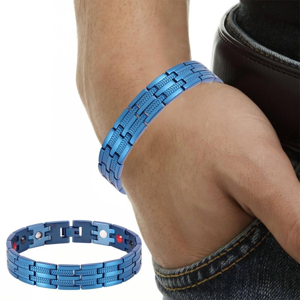 Men Blue Magnetic Bracelet Magnetic Jewelry 8d255f28538fbae46aeae7: Bracelet Bracelet with Adjust