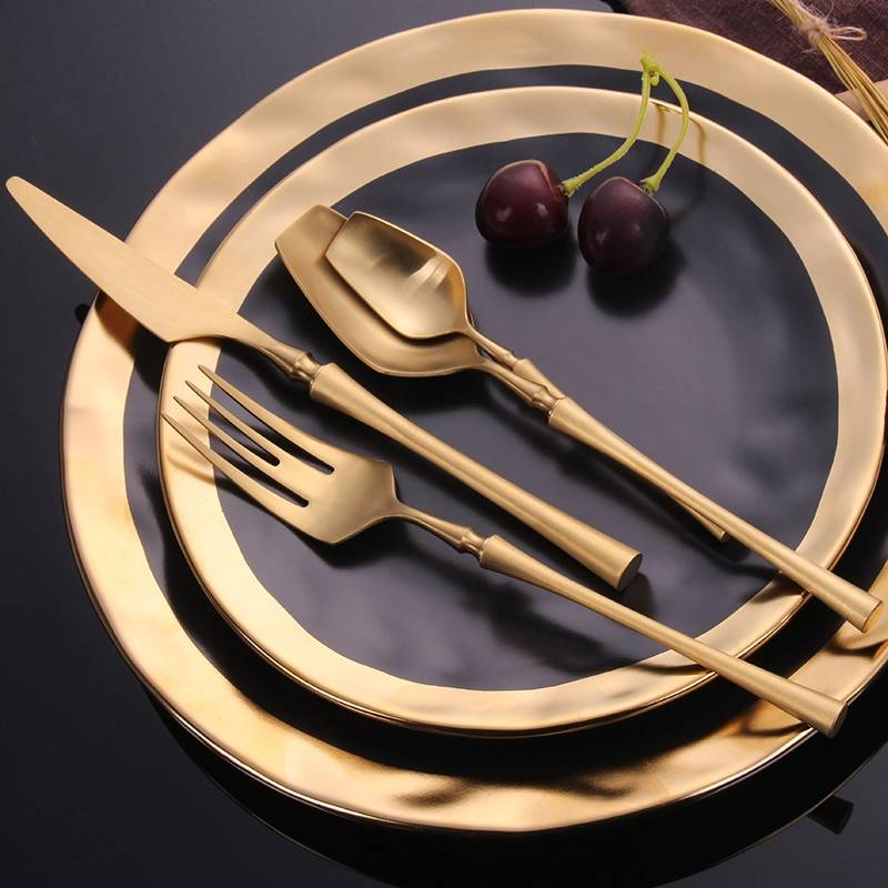 Eco-Friendly Stainless Steel Cutlery Sets Flatware & Cutlery cb5feb1b7314637725a2e7: Black Black / Gold Black / Silver Blue Blue / Gold Bright Gold Bright Silver Gold Light Yellow Pink / Gold Pink / Silver Purple Rainbow Red / Silver Silver White / Gold Yellow