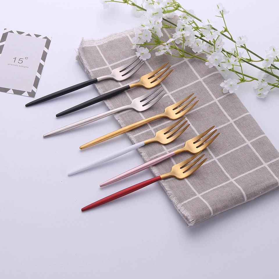 304 Stainless Steel Fork with Colorful Short Handle