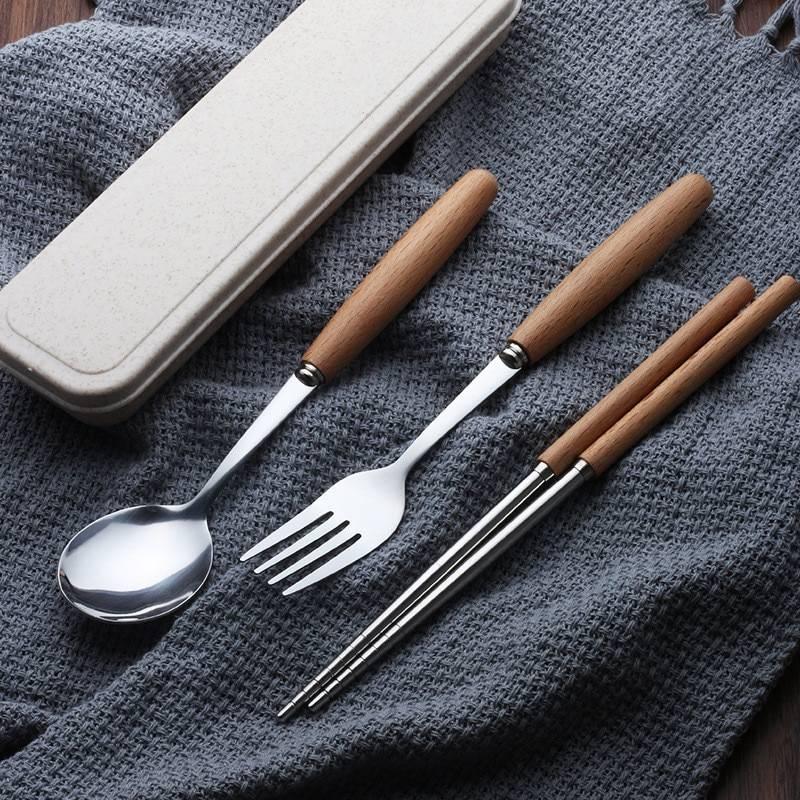 Wooden Handle 2/3/4 Pcs Cutlery Set Flatware & Cutlery 895ef33f68f150cfe6018d: 2 Pcs 3 Pcs 4 Pcs