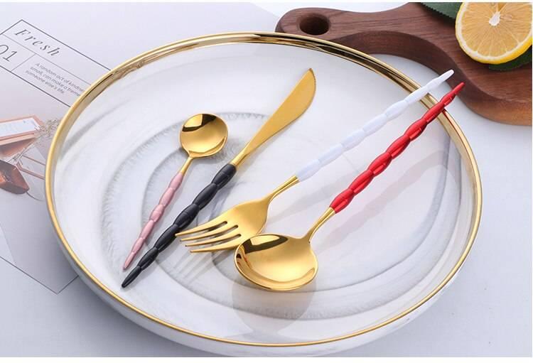 Western Style Stainless Steel Fork / Spoon / Knife Cutlery 4 pcs Set